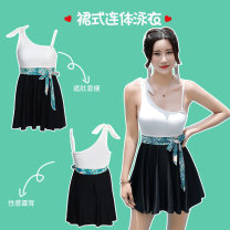 one piece  M,L,XL black and white Skirt one piece With chest pad without steel support Spandex, polyester female Sleeveless Casual swimsuit Epaulet