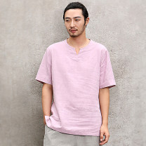 T-shirt Fashion City routine XXL S M L XL Nan Short sleeve Crew neck easy daily summer Ramie 100% middle age routine Basic public Summer 2020 hemp washing Same model in shopping mall (sold online and offline) More than 95%