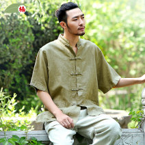 shirt Youth fashion Nan S M L XL XXL 17 # dark blue 4 # hemp green 36 # flax primary 27 # black routine stand collar Short sleeve easy daily summer N140129 middle age Ramie 100% Chinese style 2015 Solid color Summer 2015 washing hemp make a slit or vent More than 95%