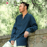 shirt Youth fashion Nan S M L XL 65 ᦇ indigo 89 ᦇ goose egg 8 ᦇ purplish 27 ᦇ black routine stand collar Long sleeves easy daily spring N140127 middle age Ramie 100% Chinese style 2014 Solid color Autumn 2014 washing hemp make a slit or vent More than 95%