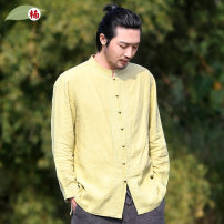 shirt Youth fashion Nan XXL S M L XL routine stand collar Long sleeves easy daily spring middle age Ramie 100% Chinese style 2017 Solid color Spring 2017 washing hemp make a slit or vent More than 95%