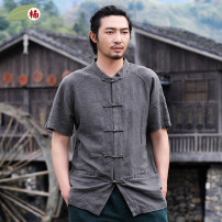 shirt Youth fashion Nan XXL S M L XL 94 greenish grey 61 Cang moss grey 63 hemp grey routine Round collar Short sleeve easy daily summer N170116 middle age Ramie 100% Chinese style 2017 Solid color Summer 2017 washing hemp make a slit or vent More than 95%
