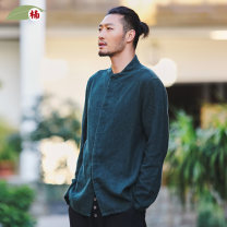 shirt Youth fashion Nan XXL S M L XL routine stand collar Long sleeves easy daily spring middle age Ramie 100% Chinese style 2016 Solid color Spring 2016 washing hemp Button decoration Same model in shopping mall (sold online and offline) More than 95%