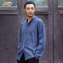 shirt Youth fashion Nan M L XL 90 ﹥ light camel 91 ﹥ indigo 22 ﹥ white 89 ﹥ goose egg blue routine stand collar Long sleeves easy daily spring N140541 middle age Ramie 100% Chinese style 2014 Solid color Summer 2014 washing hemp Epaulet More than 95%