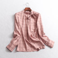 shirt White, pink S,M,L Spring of 2019 polyester fiber 96% and above Long sleeves Regular Socket lattice Straight cylinder