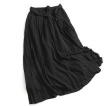 skirt Summer 2020 M, L Pink, black Mid length dress Versatile High waist Pleated skirt Solid color Type A More than 95% polyester fiber