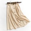 skirt Spring 2021 M, L Black, Khaki Mid length dress Versatile High waist A-line skirt Solid color Type A 055-032 More than 95% polyester fiber