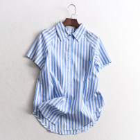 shirt Blue, yellow S,M,L Summer of 2019 cotton 96% and above Short sleeve Versatile Regular Single row multi button raglan sleeve stripe Straight cylinder 036-011