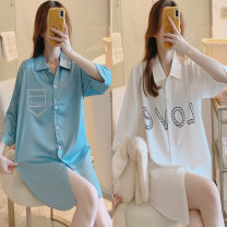 Pajama Top female Other / other three quarter sleeve sexy youth Sports Home summer Thin money Small lapel letter double-breasted Iced silk 81% (inclusive) - 95% (inclusive) silk 200g and below