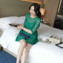 Dress Summer 2020 Black, green S,M,L,XL,3XL,4XL,XXL Middle-skirt Two piece set three quarter sleeve commute Crew neck High waist Solid color Socket Pleated skirt puff sleeve 25-29 years old Korean version Fold, Gouhua, hollow, wave 51% (inclusive) - 70% (inclusive) Lace cotton
