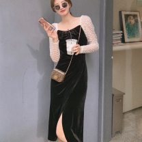 Dress Autumn 2020 Black spot S,M,L Mid length dress singleton  Long sleeves commute square neck High waist Solid color A-line skirt other 18-24 years old Type A Retro Gauze 91% (inclusive) - 95% (inclusive) other