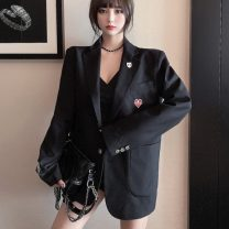 suit Winter 2020 Average size Long sleeves routine V-neck 18-24 years old Three dimensional decoration