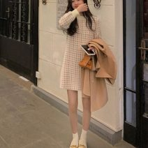 Dress Autumn 2020 Picture color S,M,L Middle-skirt singleton  Long sleeves commute Crew neck High waist houndstooth  Socket A-line skirt bishop sleeve 18-24 years old Type A 31% (inclusive) - 50% (inclusive) knitting