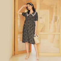 Dress SELLYNEAR Black floral dress in stock S,M,L Europe and America Short sleeve Medium length summer Lapel Decor 2022L437