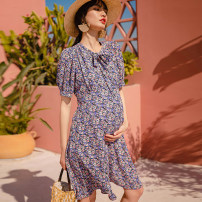 Dress SELLYNEAR Pink purple medium and long print skirt in stock S,M,L,XL Europe and America Short sleeve have more cash than can be accounted for summer V-neck Decor polyester 2122L251