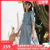 Dress SELLYNEAR Grey blue pleated lace up dress in stock S,M,L,XL Europe and America Short sleeve Medium length summer Crew neck other 2121L207