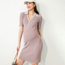 Dress SELLYNEAR S,M,L Europe and America Short sleeve Medium length summer Lapel Solid color