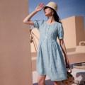 Dress SELLYNEAR Hydrangea blue cut dress in stock S,M,L,XL Europe and America Short sleeve Medium length summer V-neck Decor 2122L247