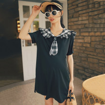 Dress SELLYNEAR Black T-shirt skirt in stock (our European size) XS,S,M,L Europe and America Short sleeve Medium length summer Lapel other 2022L625