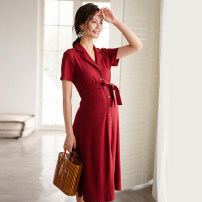 Dress SELLYNEAR Classic black dress in stock (our European size), Falu red dress in stock (our European size) XS,S,M,L Europe and America Short sleeve Medium length summer Lapel Solid color 2022L225