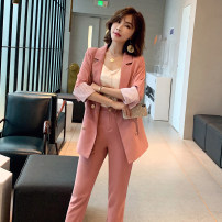 Women's large Spring 2021, summer 2021, autumn 2021 Black, pink, blue, two pieces of black ice, two pieces of apricot ice, three pieces of black, three pieces of apricot, three pieces of black shorts + suit + sling, three pieces of apricot shorts + suit + sling suit Two piece set commute easy thin
