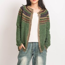 Wool knitwear Autumn of 2019 Average size Green, gray, blue Long sleeves singleton  Cardigan cotton More than 95% Regular Thin money commute easy Low crew neck routine Single breasted literature Jacquard, Auricularia auricula