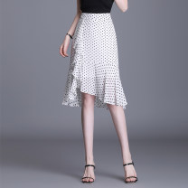 skirt Summer 2021 M L XL 2XL 3XL 4XL Black background wave point white background wave point Short skirt Versatile High waist Irregular Dot Type H 25-29 years old DZNSY2116-407 More than 95% Chiffon Duzini polyester fiber Ruffle fold asymmetric zipper printing wave point Polyester 97% other 3%