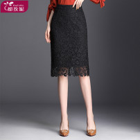 skirt Spring of 2019 M L XL 2XL 3XL 4XL black Short skirt Versatile High waist skirt Solid color Type H 25-29 years old DZNJYM99106 More than 95% Lace Duzini polyester fiber Cut out pleated zipper lace Polyester 97% other 3% Pure e-commerce (online only)