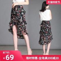 skirt Spring 2021 M L XL 2XL 3XL 4XL Decor-1331 white Mid length dress commute High waist Irregular Solid color Type A 25-29 years old DZN-BMH1331 More than 95% Duzini polyester fiber Three dimensional decorative asymmetric tie dyeing used zipper dovetail printing Korean version