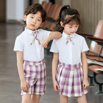 School uniform / school uniform customization 110cm 120cm 130cm 140cm 150cm 160cm neutral Funny Love summer college Class B Single breasted cotton Short sleeve + pants Polyester 65% cotton 35% Spring 2021