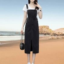 Dress Summer 2021 black S,M,L,XL Mid length dress singleton  commute middle-waisted Solid color Socket A-line skirt straps Type A Korean version Patch, pocket, stitching, tie dyeing, aging, strap, button, resin fixation 31% (inclusive) - 50% (inclusive) Denim cotton