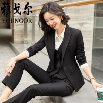 Professional pants suit Single black coat, single grey coat, black coat + trousers, grey coat + trousers, versatile white shirt S,M,L,XL,XXL,XXXL,4XL Spring 2021, winter 2021, autumn 2021 Jacket, shirt, other styles Long sleeves Youngor 25-35 years old 91% (inclusive) - 95% (inclusive)