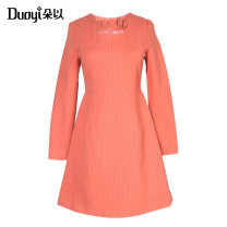 Dress Autumn of 2019 Orange, white, black and white S M L XL Short skirt singleton  Long sleeves Sweet Crew neck Loose waist stripe zipper A-line skirt other 25-29 years old Type X Duoyi / flower 33DD843042 31% (inclusive) - 50% (inclusive) nylon Same model in shopping mall (sold online and offline)