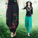 Casual pants Black, green, red, red thin, green thin, black thin L (wear 120-140 kg), m (wear 90-120 kg), XL (wear 140-180 kg) Autumn of 2019 trousers Wide leg pants Natural waist commute routine 30% and below Imperial concubine hemp ethnic style Embroidery