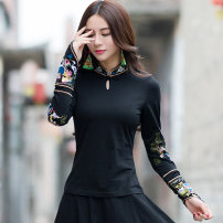 T-shirt Autumn of 2018 Long sleeves stand collar Self cultivation Regular commute cotton 86% (inclusive) -95% (inclusive) ethnic style originality Plants and flowers Imperial concubine