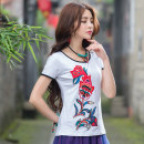 T-shirt White, red, blue, black M,L,XL,2XL,3XL,4XL,5XL Summer 2017 Short sleeve Crew neck Self cultivation Regular routine commute cotton 86% (inclusive) -95% (inclusive) ethnic style classic Animal patterns, plants and flowers Imperial concubine Embroidery