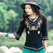 T-shirt Black, black (long sleeve evening rain) 5XL,2XL,3XL,XL,4XL,L,M Autumn of 2018 V-neck Self cultivation Regular pagoda sleeve commute cotton 86% (inclusive) -95% (inclusive) ethnic style classic Animals, plants, flowers, hand painted Imperial concubine Thread decoration, tassels, embroidery