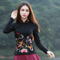 T-shirt Red plush, black plush, dark green plush, elegant black spring and autumn, green spring and autumn, rose red spring and autumn M,L,XL,2XL,3XL,4XL,5XL Winter of 2018 Long sleeves stand collar Self cultivation Regular routine commute cotton 30% and below ethnic style classic Plants and flowers