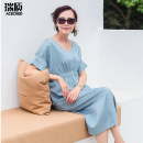 Dress More than 95% other Lyocell 100% Summer 2020 Medium length skirt Acered / Ruizhi singleton  Short sleeve commute V-neck Elastic waist zipper Solid color other 40-49 years old Other L0101-1 Type H Simplicity One size fits all