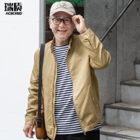Jacket Acered / Ruizhi Fashion City khaki 170/M 175/L 180/XL 185/2XL 190/3XL routine easy Other leisure Long sleeves Wear out stand collar Business Casual routine Zipper placket Rubber band hem washing Solid color Spring 2020 More than two bags) Side seam pocket