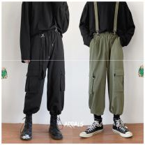 Casual pants Others Youth fashion Bd01 / black, bd01 / Army Green M,L,XL,2XL routine trousers Other leisure easy 8-30-BD01 autumn teenagers Japanese Retro 2020 Medium low back Little feet Cotton 100% Overalls Detachable strap pants No iron treatment Solid color