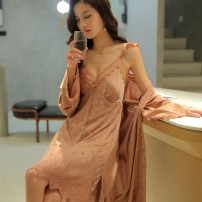 Pajamas / housewear set female Other / other M,L,XL Polyester (polyester) camisole sexy pajamas summer Thin money V-neck Solid color Tether youth 2 pieces rubber string More than 95% silk lace 200g Middle-skirt