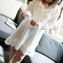 Nightdress Other / other Off white Average size Sweet Long sleeves Living clothes Middle-skirt autumn Solid color youth Crew neck cotton Hollowing out Cotton and hemp W-2018219-1