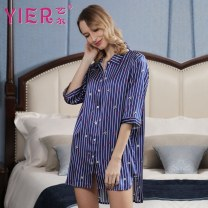 Nightdress Yier Print 1 (precious blue), print 2 (black), print 3 (light pink), print 5 (white), print 6 (Leather Pink) 160(M),165(L),170(XL) sexy Middle sleeve pajamas Middle-skirt summer stripe youth V-neck silk printing More than 95% silk 200g and below