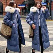 Women's large Winter 2020 Blue, black, beige S (90-105 kg), m (110-125 kg), l (126-135 kg), XL (138-145 kg), 2XL (148-158 kg) cotton-padded clothes singleton  commute thickening Cardigan Long sleeves Solid color Korean version Hood Medium length Three dimensional cutting Other / other 18-24 years old