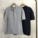 T-shirt Youth fashion Grey, Navy thin M,L,XL,2XL,3XL Others Short sleeve stand collar easy Other leisure summer 24E8 teenagers routine tide 2021 Solid color