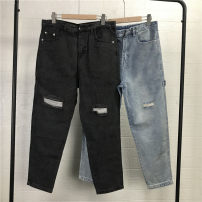 Jeans Youth fashion Others M,XL Light blue, black gray routine 206C10 Ninth pants Other leisure spring teenagers Slim feet tide 2021 Little straight foot zipper washing Holes, washing