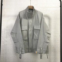 Jacket Other / other Youth fashion grey M,L,XL routine Extra wide Other leisure autumn 145B8 Long sleeves Wear out stand collar tide teenagers routine zipper 2021 Solid color cotton