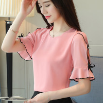 Lace / Chiffon Summer of 2019 Red, apricot, blue, white, green, pink, black [skirt] S,M,L,XL,2XL,3XL Short sleeve commute Socket singleton  easy Regular Crew neck Solid color routine 25-29 years old Bow, ruffle, pleat, lace, stitching, three-dimensional decoration Korean version polyester fiber