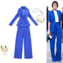 suit Spring of 2019 Royal blue pants, royal blue top S,M,L,XL Long sleeves routine Self cultivation tailored collar A button commute routine Solid color 19-T007 25-29 years old 96% and above polyester fiber Mi Jing Pocket, button
